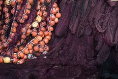 Fisherman fishing nets hanged to dry. Fisherman fishing nets on the shore of in Zante Island, Greece stock image