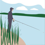 Fisherman. Is fishing on the river Royalty Free Stock Photography