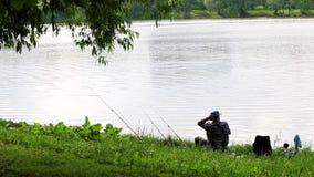 Fisherman is fishing stock footage