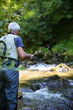 Fisherman fishing in river Royalty Free Stock Photo