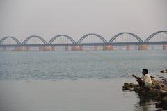Fisherman. Fishing on  river, Godavari River,bridge Royalty Free Stock Photos
