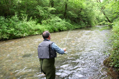 Fisherman fishing in river stream Royalty Free Stock Image