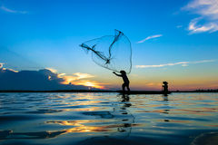 Fisherman. Are fishing the river in Thailand Royalty Free Stock Photo