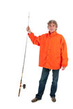 Fisherman with fishing rod Royalty Free Stock Photos