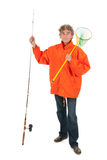 Fisherman with fishing rod. In the studio Stock Image