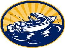 Fisherman fishing rod on boat Royalty Free Stock Photo