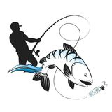 Fisherman with a fishing rod and fish. Silhouette design Stock Photo