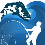 Fisherman with fishing rod vector illustration