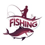 Fisherman with a fishing rod and fish. A fisherman with a fishing rod is fishing Stock Photos