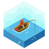 Fisherman with Fishing Rod Polygonal Character in Stock Image
