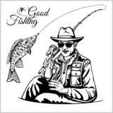 Fisherman with a fishing rod pulls a fish silhouette vector. Stock royalty free illustration