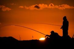 Fisherman Fishing Rod Silhouette Royalty Free Stock Photography
