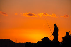 Fisherman Fishing Rod Silhouette Stock Photo