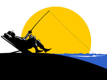 Fisherman fishing sunset vector illustration