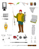 Fisherman and fishing tackle flat icon set. Fishing rod, bait, lure, net and other gear and equipment abstract vector illustration Stock Photography