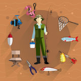 Fisherman and fishing tackle. Fisherman in overalls with a fishing rod in his hands. Around him fishing tackle and accessories. Flat style icons Royalty Free Stock Photo
