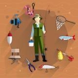 Fisherman and fishing tackle Royalty Free Stock Photo