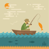 Fisherman. Fishing vector illustration, fisherman with rod and fish royalty free illustration