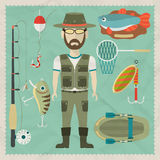 Fisherman flat character.  Fishing flat icons Royalty Free Stock Images