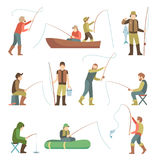 Fisherman flat icons. Fishing people with fish and equipment vector set. Fishing equipment, leisure and hobby catch fish illustration Royalty Free Stock Photo