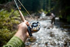 Free Fisherman Fly Fishing In The Piney River, Colorado Royalty Free Stock Image - 114199726