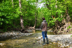 Fisherman with fly-fishing on mountain river Royalty Free Stock Photos