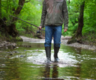 Fisherman with fly-fishing on mountain river. Spring time Stock Photos