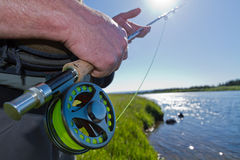Fisherman Fly Rod and Reel Stock Photos