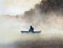 Fisherman in the fog Stock Images