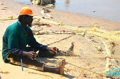 Fisherman gambia beach 2 Stock Photo