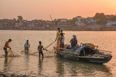 Fisherman on the Ganga, Varanasi India royalty free stock photography