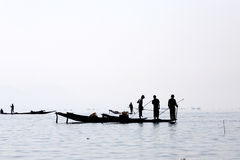 Fishermen at Inle Lake. A fisherman gathered on the still morning at Inle Lake in Myanmar Royalty Free Stock Photography