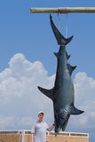 Fisherman with giant mako shark catch Stock Photo