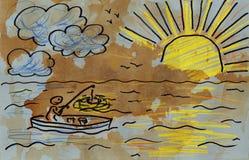 Fisherman. Grunge style. Hand drawn. Mixed media artwork Royalty Free Stock Photography