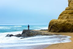 Fisherman in Half Moon Bay stock photo