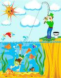 Fisherman Has Caughted On Fishing Rod Of The Diver Stock Photos