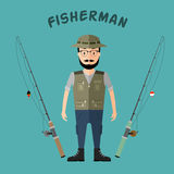 Fisherman hat and vest with two rods in a flat style. Fisherman hat and vest with two rods, in a flat style Stock Image