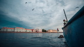 Fisherman Hauling Fish Trap stock video