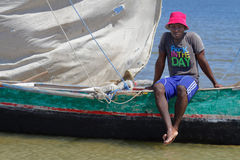 A fisherman and his boat Royalty Free Stock Photos