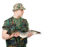 Fisherman with his catch Royalty Free Stock Photos