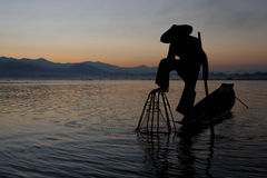 Fisherman and his fishnet down Royalty Free Stock Photography