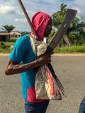 Fisherman coming out of an estuary of the Atlantic ocean in Lekki Lagos Nigeria Stock Photos