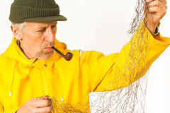 Fisherman with his net stock photography