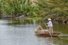 Fisherman at the Hoi An River, Vietnam Royalty Free Stock Photos