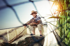 Fisherman holding a big carp Stock Photography