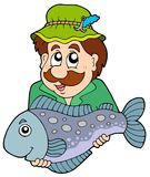 Fisherman holding big fish. Illustration Stock Photo