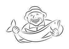 Fisherman holding fish, vector. Fisherman holding fish on white background, vector illustration Stock Images