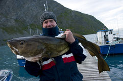 Fisherman holding huge fish Stock Photos