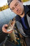 Fisherman holding northern pike stock image