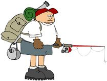 Fisherman holding a pole and carrying a backpack stock illustration